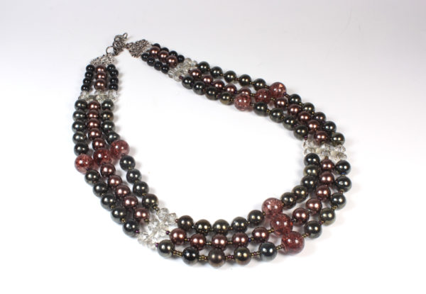 Necklace - claret, copper & dark green glass
