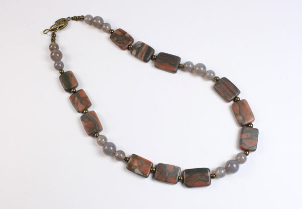 Necklace - pink/grey canyon marble & grey agate