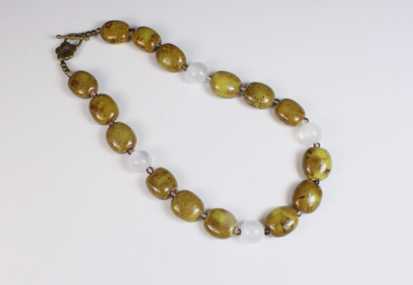 Necklace - mustard porcelain & milky white acrylic