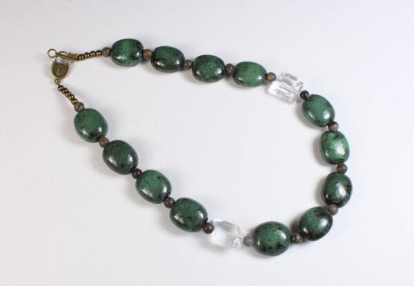 Necklace - viridian porcelain & clear acrylic