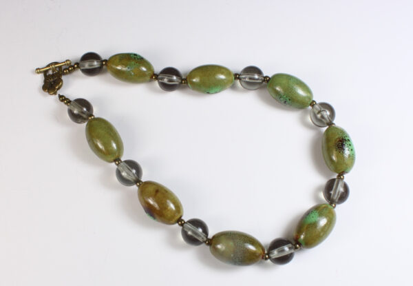 Necklace - olive green porcelain & grey acrylic