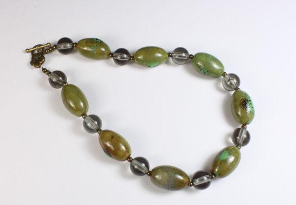 Necklace - olive green porcelain & grey acrylic