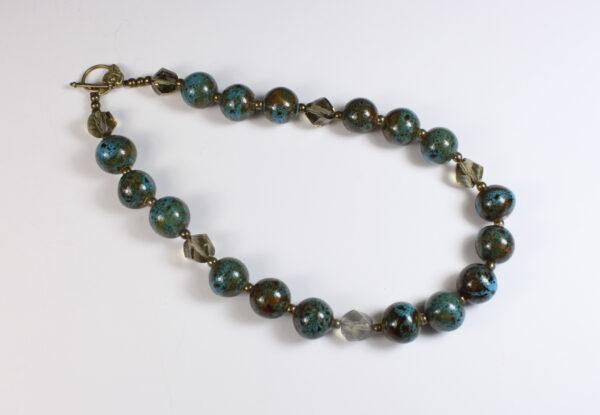 Necklace - blue/brown porcelain & grey glass
