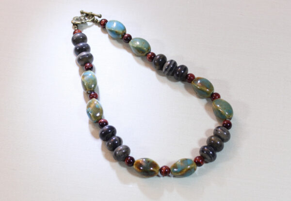 Necklace - blue/brown porcelain, marble & tiger eye