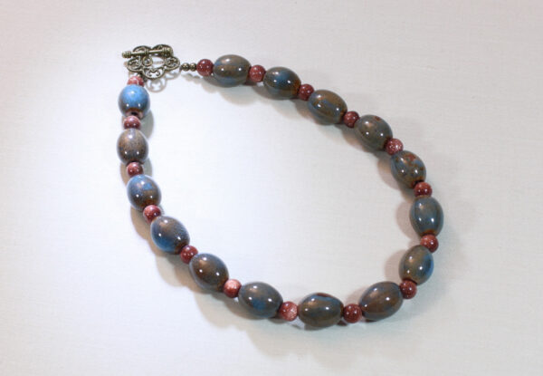 Necklace - blue/brown porcelain & sandstone