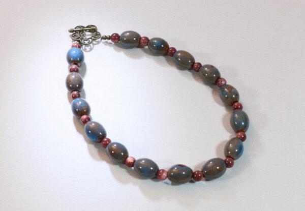 Necklace - blue/brown porcelain & sandstone