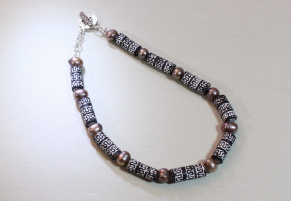 Necklace - carved B/W clay & brown pearls