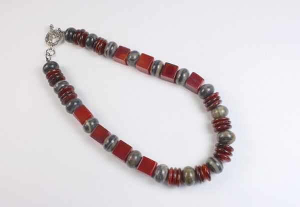 Necklace - red agate cubes & grey marble