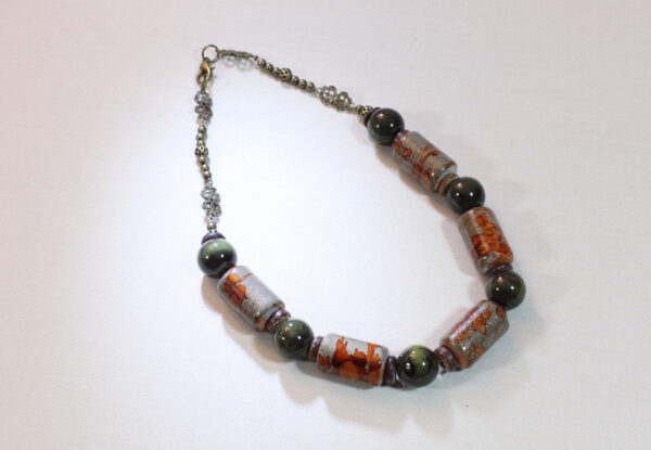 Necklace - olive porcelain & brown acrylic