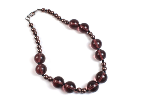 Necklace - Claret & copper glass beads