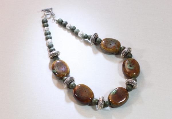 Necklace - brown porcelain & green wood