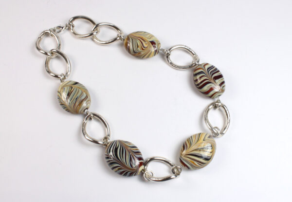 Necklace + bracelet, lampwork glass & silver chain