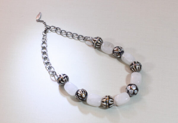 Necklace - white agate & painted glass beads