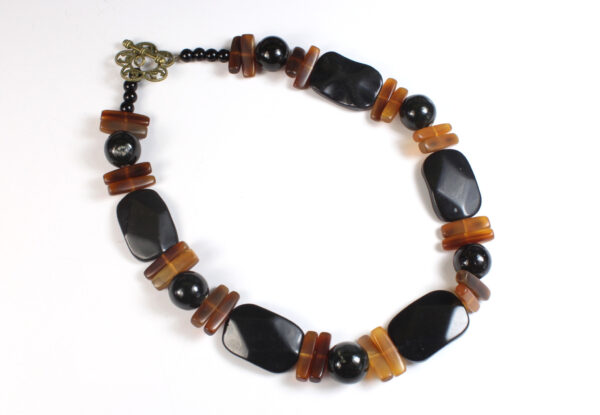 Necklace - blackstone, horn & porcelain
