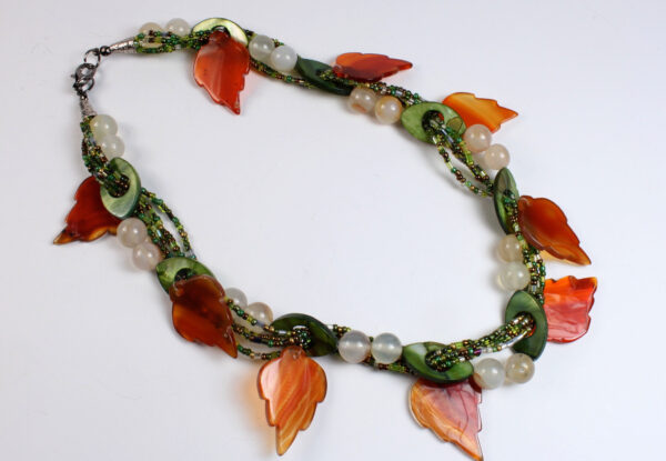 Necklace orange/white agate, green & seeds