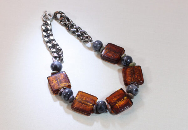 Necklace - lampwork square glass & labradorite
