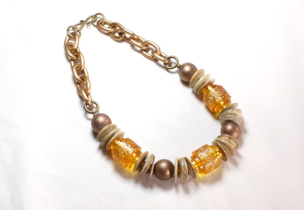 Necklace - yellow & antique gold acrylic