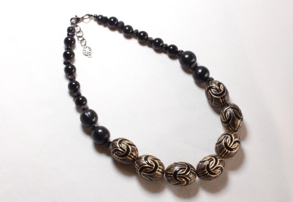 Necklace - black antique gold acrylic
