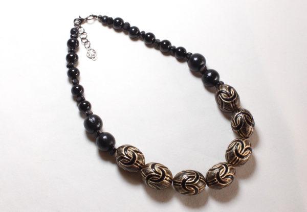 Necklace - black antique gold acrylic