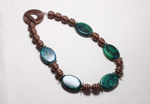 Necklace - green turquoise & antiqued copper