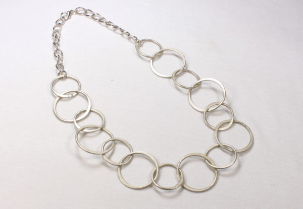 Necklace - nickel finish steel chain