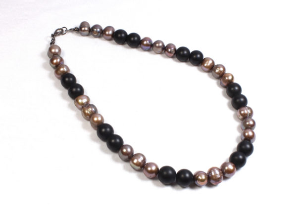 Necklace - pink pearls & black glass
