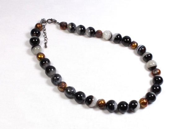 Necklace black agate quartz & pearls