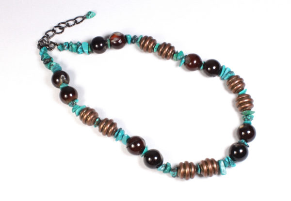 Necklace - agate turquoise acrylic copper