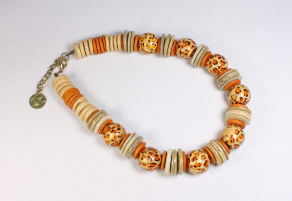 Necklace orange & beige printed wood