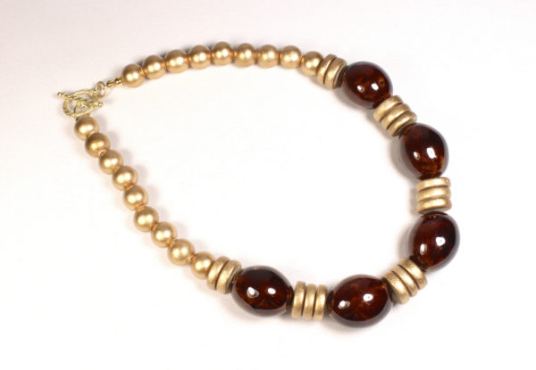 Necklace - brown porcelain & gold-painted wood
