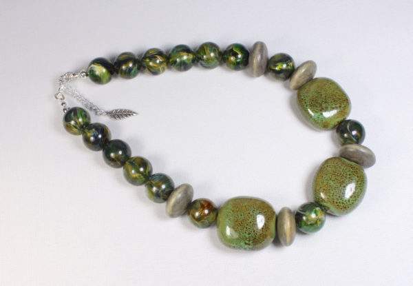 Necklace - olive porcelain & acrylic