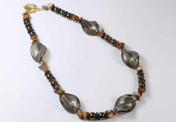 Necklace - twisted silver-grey Venetian glass