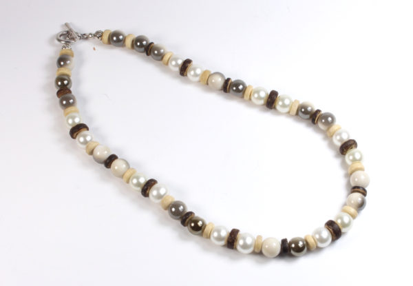 Necklace & bracelet, pearl & ivory/taupe acrylic