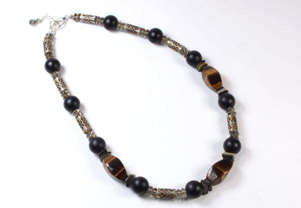Necklace - tiger eye, black glass & filigree tubes