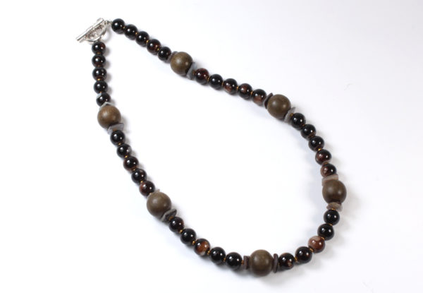 Necklace - brown wood & glass