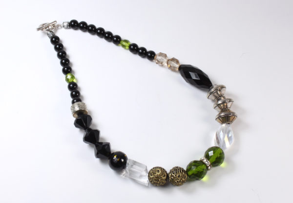 Necklace - black/apple green/silver & brass