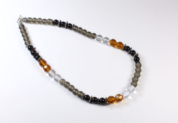 Necklace - amber, frosted grey & black glass