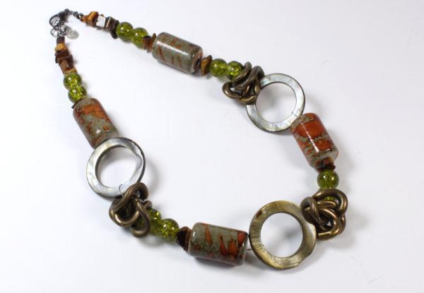Necklace + bracelet, brown cylinder & doughnut