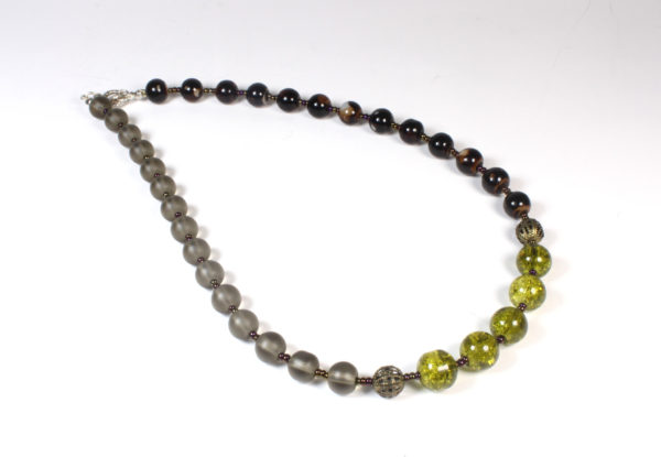 Necklace - claret, moss green & grey glass