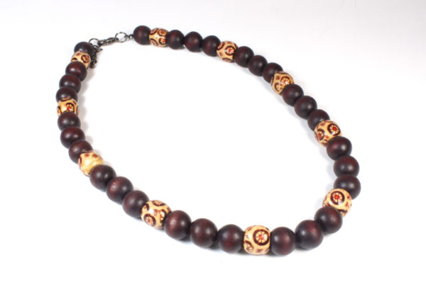 Necklace + bracelet, maroon printed & plain wood