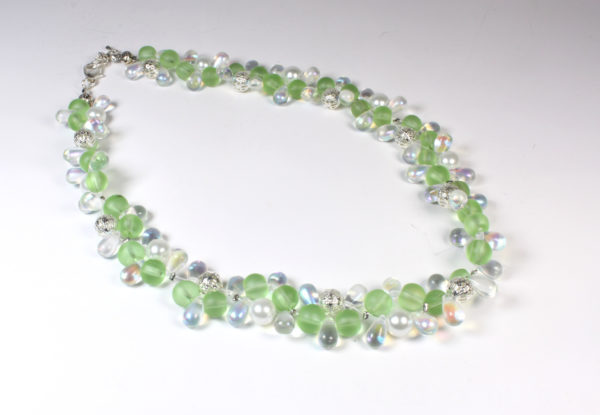Necklace - lime glass, teardrops & silver filigree