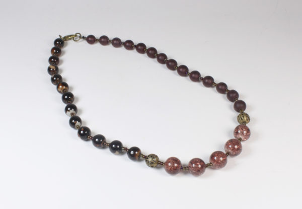 Necklace - rustic brown & frosted claret glass