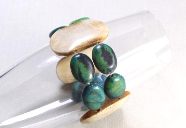 Bracelet - green turquoise & horn