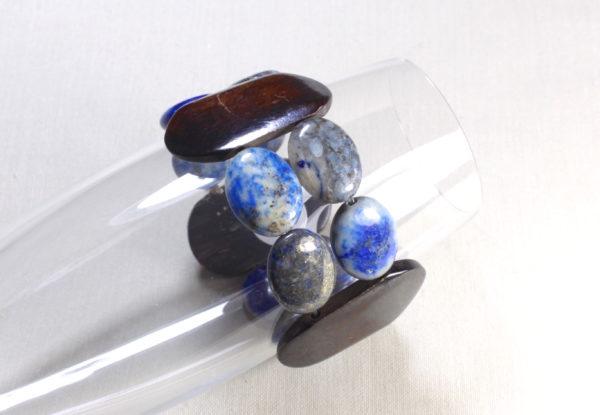 Bracelet - oval lapis lazuli and horn