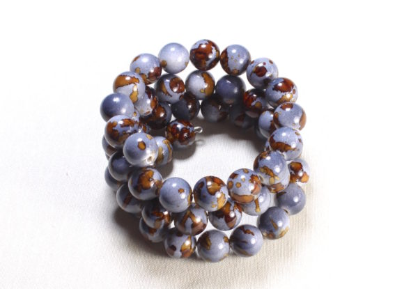 Bracelet - greyish blue & brown acrylic