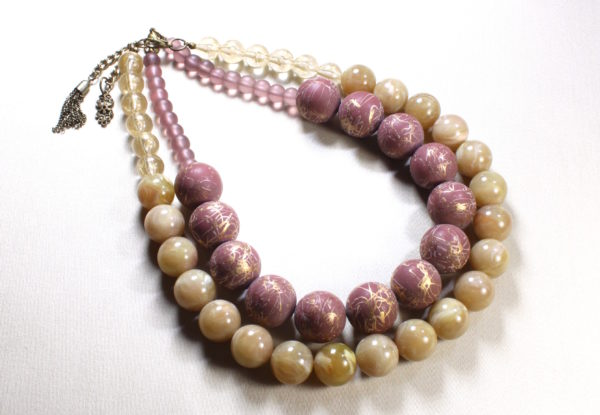 Necklace duo dusty pink & cream acrylic/glass