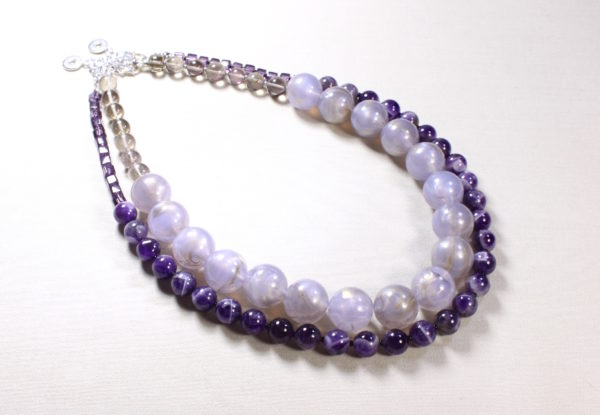 Necklace Duo light purple acrylic & amethyst