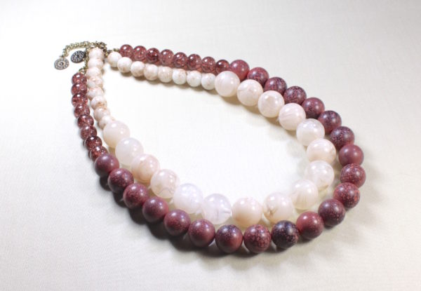 Necklace Duo - translucent & speckled claret acrylic