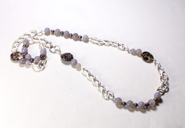 Necklace - grey agate, pearl & limpet shell