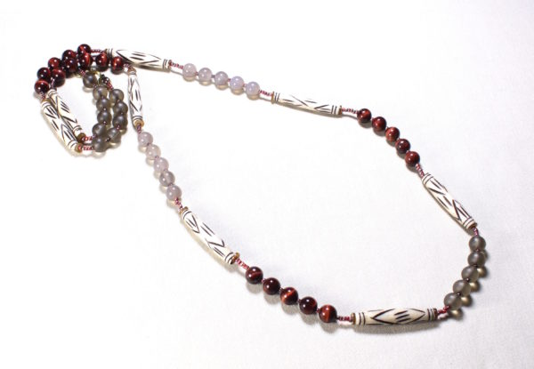 Long necklace grey agate tiger eye bone